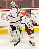 Katie Burt (BC - 33), Kristyn Capizzano (BC - 7) - The Boston College Eagles defeated the visiting UConn Huskies 4-0 on Friday, October 30, 2015, at Kelley Rink in Conte Forum in Chestnut Hill, Massachusetts.