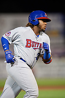 Buffalo Bisons third baseman Vladimir Guerrero Jr. (27) runs the bases after hitting a home run in the top of the seventh inning during a game against the Syracuse Chiefs on September 2, 2018 at NBT Bank Stadium in Syracuse, New York.  Syracuse defeated Buffalo 4-3.  (Mike Janes/Four Seam Images)