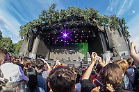 General view from the crowd as Beck perform during British Summertime Music Festival at Hyde Park, London, England on 18 June 2015. Photo by Andy Rowland.