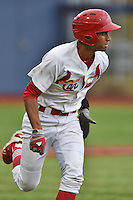 Johnson City Cardinals shortstop Oscar Mercado #4 runs to first during a game against the Elizabethton Twins at Thomas Stadium July 8, 2014 in Johnson City, Tennessee. The Twins defeated the Cardinals 9-3. (Tony Farlow/Four Seam Images)