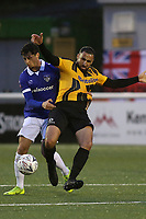 Aryan Tajbakhsh of Maidstone and Oldham's Mohammed Maouche challenge for the ball during Maidstone United vs Oldham Athletic, Emirates FA Cup Football at the Gallagher Stadium on 1st December 2018