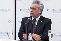 Washington, DC - April 16, 2019: Ecuador President Lenin Moreno discusses the economic, human rights and environmental challenges facing his country at the Inter American Dialogue in Washington, DC, April 16, 2019.  (Photo by Lenin Nolly/Media Images International)