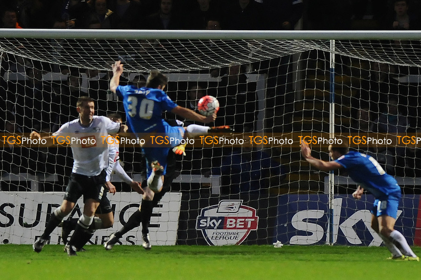 Jake Gray of Hartlepool United scores the opening goal of the game during Hartlepool United vs Derby County at Victoria Park
