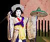 Kabuki <br /> featuring Ebizo Ichikawa XI<br /> at Sadler's Wells, London, Great Britain <br /> rehearsal <br /> 3rd June 2010 <br /> <br /> <br /> Nakamura Shibajaku (as Shizauka)<br /> <br /> Photograph by Elliott Franks