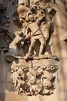 Slaughter of the Innocents, sculptures by Llorenç Matamala i Piñol, Hope hallway, Nativity façade, La Sagrada Familia, Roman Catholic basilica, Barcelona, Catalonia, Spain, built by Antoni Gaudí (Reus 1852 ? Barcelona 1926) from 1883 to his death. Still incomplete. Picture by Manuel Cohen