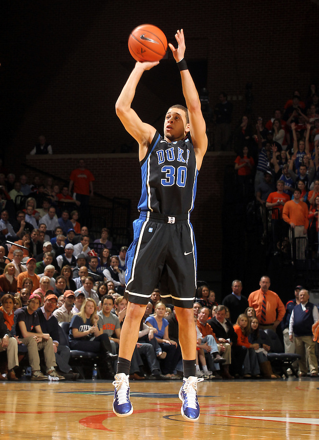 Feb. 16, 2011; Charlottesville, VA, USA; Duke Blue Devils guard Seth Curry (30) shoots a three pint shot during the first half of the game against the Virginia Cavaliers at the John Paul Jones Arena.  Credit Image: © Andrew Shurtleff