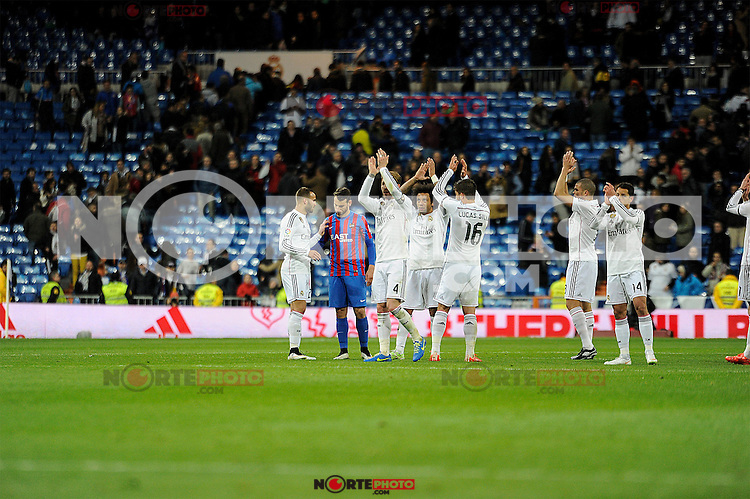Real Madrid´s players and Levante UD´s players thanks the supporters after 2014-15 La Liga match between Real Madrid and Levante UD at Santiago Bernabeu stadium in Madrid, Spain. March 15, 2015. (ALTERPHOTOS/Luis Fernandez) /NORTEphoto.com