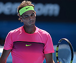 Rafael Nadal (ESP) defeats Mikhail Youzhny (RUS) 6-3, 6-2, 6-2 at the Australian Open being played at Melbourne Park in Melbourne, Australia on January 19, 2015