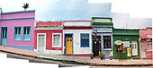 Olinda, Pernambuco State, Brazil. Rua Quinze de Novembro; colourful colonial shops in a stitched panorama.
