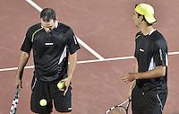 BOGOTÁ -COLOMBIA. 19-07-2013. Juan Sebastián Cabal (COL) (Izq)/Robert Farah (COL) (Der) durante el juego contra Purav Raja (IND)/Divij Sharan (IND) en dobles en las semifinales del ATP Claro Open Colombia 2013 realizado hoy en el Centro de Alto Rendimiento en la ciudad de Bogotá./ Juan Sebastián Cabal (COL)/Robert Farah (COL) during match against Purav Raja (IND)/Divij Sharan (IND) on semifinals of the ATP Claro 2013 today at Centro Alto Rendimiento in Bogota city. Photo: VizzorImage / Str