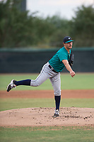 AZL Mariners starting pitcher Joey O'Brien (16) follows through on his delivery during an Arizona League game against the AZL White Sox at Camelback Ranch on July 8, 2018 in Glendale, Arizona. The AZL White Sox defeated the AZL Mariners 8-5. (Zachary Lucy/Four Seam Images)