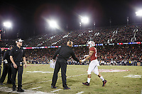 Stanford, CA - November 18, 2017: David Shaw, head coach, shakes hand with Cameron Scarlett during the Stanford vs California football game Saturday night at Stanford Stadium.<br /> <br /> The Stanford Cardinal defeated the California Golden Bears 17 to 14.