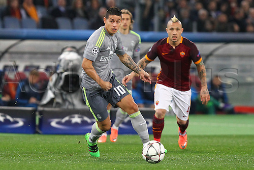 17.02.2016. Stadio Olimpico, Rome, Italy. UEFA Champions League, Round of 16 - first leg, AS Roma versus Real Madrid.  JAMES RODRIGUEZ chased down by Radja Nainggolan (Roma)