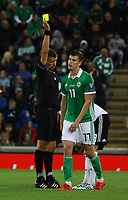 Gelb für Shane Ferguson (Nordirland, Northern Ireland) - 09.09.2019: Nordirland vs. Deutschland, Windsor Park Belfast, EM-Qualifikation DISCLAIMER: DFB regulations prohibit any use of photographs as image sequences and/or quasi-video.
