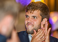 The Hague, The Netherlands, September 13, 2017,  Sportcampus , Davis Cup Netherlands - Chech Republic, Official Dinner, Jiri Vesely (CZE)<br /> Photo: Tennisimages/Henk Koster