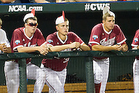 Indiana Hoosiers bench ninth inning rally caps against the Oregon State Beavers during Game 9 of the 2013 Men's College World Series  on June 19, 2013 at TD Ameritrade Park in Omaha, Nebraska. The Beavers defeated the Hoosiers 1-0, eliminating Indiana from the tournament. (Andrew Woolley/Four Seam Images)