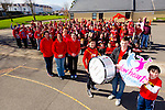 Glow Hearts for Crumlin - Conor Commane,  Ciarán Doyle, Dillon Brosnan with Sonia Doyle, Sharon Brosnan Mrs Dempsey Sinead O'Connor, students and staff from Holy family School supporting the wear Red in aid of Crumlin on Thursday