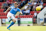 St Johnstone v Hearts…17.09.16.. McDiarmid Park  SPFL<br />Paul Paton's shot goes over<br />Picture by Graeme Hart.<br />Copyright Perthshire Picture Agency<br />Tel: 01738 623350  Mobile: 07990 594431