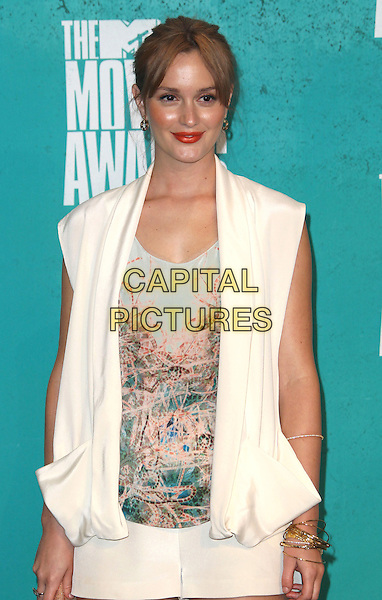 Leighton Meester.2012 MTV Movie Awards held at the Gibson Amphitheatre, Universal City, California, USA..3rd June 2012.half length white sleeveless top jacket blue print  .CAP/ADM/SLP/LS.©Lee Sherman/Starlitepics/AdMedia/CapitalPictures.