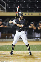 Johnny Aiello (2) of the Wake Forest Demon Deacons at bat against the Virginia Cavaliers at David F. Couch Ballpark on May 18, 2018 in  Winston-Salem, North Carolina.  The Cavaliers defeated the Demon Deacons 15-3.  (Brian Westerholt/Four Seam Images)
