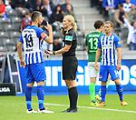 10.09.2017, OLympiastadion, Berlin, GER, 1.FBL, Hertha BSC VS. SV Werder Bremen, im Bild <br /> Schiedsrichterin  Bibiane Steinhaus, Vedad Ibisevic (Hertha BSC Berlin #19)<br /> <br /> <br />       <br /> Foto &copy; nordphoto / Engler