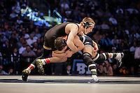 STATE COLLEGE, PA - FEBRUARY 8: Josh Dziewa of the Iowa Hawkeyes and Kade Moss of the Penn State Nittany Lions during their match on February 8, 2015 at the Bryce Jordan Center on the campus of Penn State University in State College, Pennsylvania. The Hawkeyes won 18-12. (Photo by Hunter Martin/Getty Images) *** Local Caption *** Kade Moss;Josh Dziewa