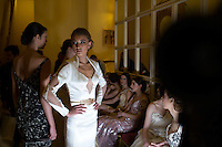 TUNIS, TUNISIA - APRIL 11: Models waits backstage before a fashion show during la Fete Internationale de la Mode on April 11, 2015, held at Carthage Thalasso Resort hotel in Tunis, Tunisia. (Photo by: Per-Anders Pettersson)