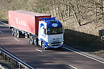 Volvo Maritime K line container heavy goods vehicle, A12 Suffolk, England