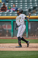 Eric Young Jr. (8) of the Salt Lake Bees bats against the Albuquerque Isotopes at Smith's Ballpark on April 8, 2018 in Salt Lake City, Utah. Albuquerque defeated Salt Lake 11-4. (Stephen Smith/Four Seam Images)