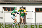 Padraig Boyle(Kerry) get the avantage of Mike Halloran (limerick) in the Todd Nolan hurling tourment on Saturday in Kilmoyley...