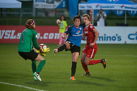 Kansas City, MO - Saturday May 27, 2017: Stephanie Labbé, Alexa Newfield, Alyssa Kleiner during a regular season National Women's Soccer League (NWSL) match between FC Kansas City and the Washington Spirit at Children's Mercy Victory Field.