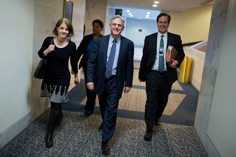 UNITED STATES - APRIL 06: Supreme Court justice nominee Merrick Garland, arrives for meeting with Sen. Dianne Feinstein, D-Calif., in Hart Building, April, 06, 2016. (Photo By Tom Williams/CQ Roll Call)