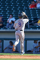 Surprise Saguaros second baseman Luis La O (9), of the Texas Rangers organization, celebrates as he touches home plate after hitting a home run during an Arizona Fall League game against the Mesa Solar Sox on October 20, 2017 at Sloan Park in Mesa, Arizona. The Solar Sox walked-off the Saguaros 7-6.  (Zachary Lucy/Four Seam Images)