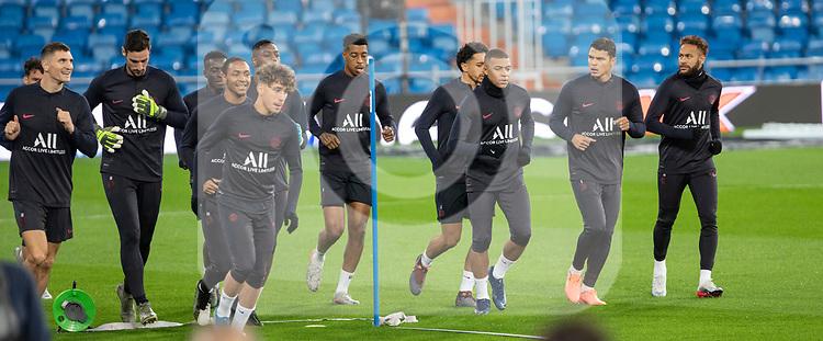 PSG's Players Presnel Kimpembe, Marquinhos, Thiago Silva, Kylian Mbappe and Neymar during training session. <br /> November 25 ,2019.<br /> (ALTERPHOTOS/David Jar)
