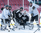 Josh Monk (PC - 27), Nick Saracino (PC - 18), Shane Luke (PC - 20), Nick Ellis (PC - 35), Will Goss (PC - 8) -  - The participating teams in Hockey East's first doubleheader during Frozen Fenway practiced on January 3, 2014 at Fenway Park in Boston, Massachusetts.