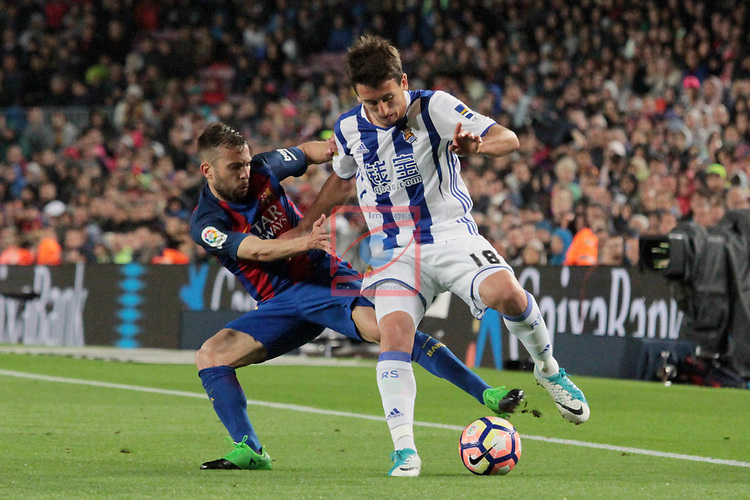 League Santander 2016/2017. Game: 32.<br /> FC Barcelona vs Real Sociedad: 3-2.<br /> Jordi Alba vs Oyarzabal.
