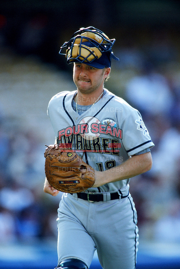 Charlie Greene of the Milwaukee Brewers during a 1999 Major League Baseball season game against the Los Angeles Dodgers in Los Angeles, California. (Larry Goren/Four Seam Images)