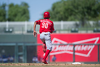 Cincinnati Reds shortstop Miguel Hernandez (90) attempts to steal second base during an Instructional League game against the Kansas City Royals on October 2, 2017 at Surprise Stadium in Surprise, Arizona. (Zachary Lucy/Four Seam Images)