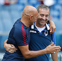 Calcio, Serie A: Roma vs Sampdoria. Roma, stadio Olimpico, 11 settembre 2016.<br /> Roma&rsquo;s coach Luciano Spalletti, left, greets Sampdoria Coach Marco Giampaolo prior to the start of the Italian Serie A football match between Roma and Sampdoria at Rome's Olympic stadium, 11 September 2016. Roma won 3-2.<br /> UPDATE IMAGES PRESS/Isabella Bonotto
