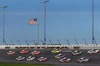 Jeff Gordon leads a group of cars during the 2008 Daytona 500 NASCAR race at Daytona International Speedway in Daytona Beach, Florida.