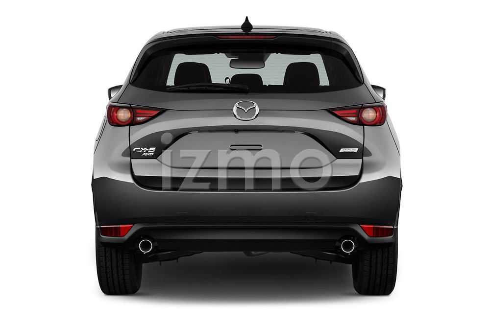 Straight rear view of 2017 Mazda CX-5 Grand Touring 5 Door SUV stock images