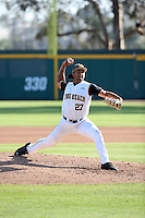 Chris Mathewson (27) of the Long Beach State Dirtbags pitches against the Arizona State Sun Devils at Blair Field on February 27, 2016 in Long Beach, California. Long Beach State defeated Arizona State, 5-2. (Larry Goren/Four Seam Images)