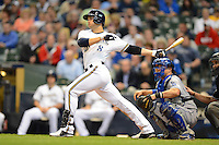 Milwaukee Brewers outfielder Ryan Braun #8 during a game against the Los Angeles Dodgers at Miller Park on May 22, 2013 in Milwaukee, Wisconsin.  Los Angeles defeated Milwaukee 9-2.  (Mike Janes/Four Seam Images)