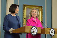 December 14, 2011  (Washington, DC)  U.S. Secretary of State Hillary Clinton and the President of Kosovo, Atifete Jahjaga (left), deliver remarks to the press before signing a cultural heritage preservation agreement at the Department of State.    (Photo by Don Baxter/Media Images International)
