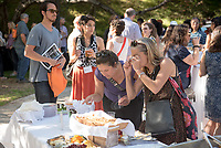 "Food conference attendees enjoy music, appetizers, and drinks during the Opening Reception in Sycamore Glen.<br /> Occidental College hosts the Oxy Food Conference, an annual meeting and conference for the Agriculture, Food and Human Values Society (AFHVS)/Association for the Study of Food and Society (ASFS). The event ran from June 14-17, 2017 and was organized by Oxy associate professor of sociology John Lang. This was the first time Oxy hosted this conference.<br /> More than 500 food scholars converged for one of the discipline's largest international conferences and the chance to discuss everything from sustainable agricultural and fisheries practices to the cultural significance of Basque-American ""picon punch.""<br /> (Photo by Marc Campos, Occidental College Photographer)"