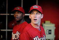 May 19, 2010; Phoenix, AZ, USA; Arizona Diamondbacks shortstop Stephen Drew (right) and outfielder Justin Upton against the San Francisco Giants at Chase Field. Mandatory Credit: Mark J. Rebilas-