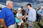 Jerry Kramer and Jill Wertz talk with Wisconsin Gov. Scott Walker at the Inaugural Basque Fry in Gardnerville, Nev., on Wednesday, Aug. 12, 2015. Walker was one of a handful of Republican presidential candidates who attended the event. <br /> Photo by Cathleen Allison