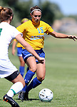 BROOKINGS, SD - SEPTEMBER 7:  Alyssa Brazil #15 from South Dakota State drives with the ball against a defender from Bemidji State in the first half of their game Sunday in Brookings. (Photo/Dave Eggen/Inertia)