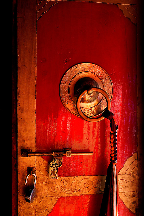Annapurna Circuit Trek, Buddhist door in Temple in Marpha with a traditional lock.
