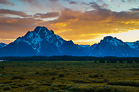 A marvelous sunset able behind Mt Moran in Grand Teton National Park, WY.